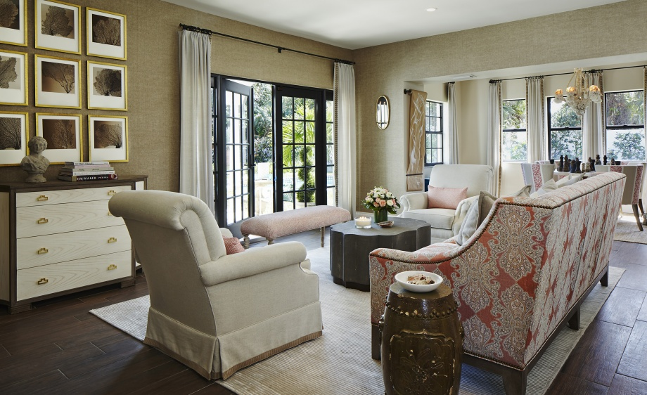 Piper Gonzalez used Robert Allen fabrics exclusively to create this livable yet luxurious living room for the American Red Cross Designers' Show House in Palm Beach, Florida. Photography Credit Brantley Photography