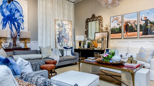 Shelly's space incorporates stunning artwork and accessories, and a mix of sophisticated fabrics from Robert Allen and Beacon Hill. Photography Credit: Lance Selgo, Unique Exposures Photography