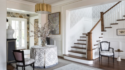 In the DC Design House, interior designer Pamela Harvey selected Water Diamond in Ash to add movement to a stairwell.   Photography Credit: Angie Seckinger